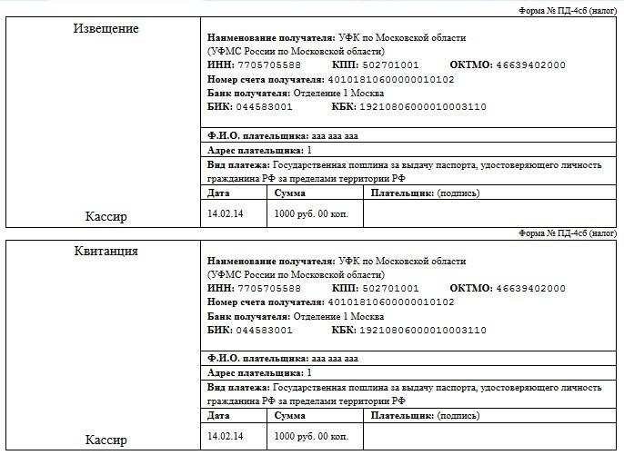 квитанция на оплату госпошлины на загранпаспорт старого образца московская область - фото 8